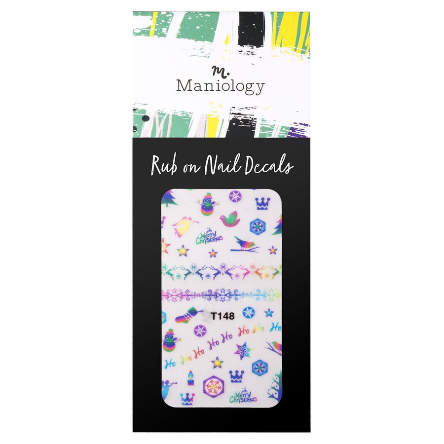 Northern Lights (T148) Rub-On Nail Decals from Winter Occasions  with reindeer, snowflakes, and pine trees for easy, festive nails in minutes.