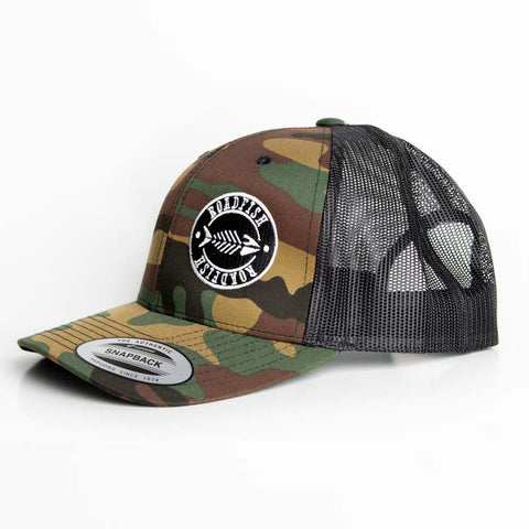 Casquette à filet Roadfish Noir/Camo, Tag blanc
