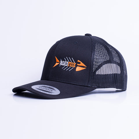 Casquette à filet Roadfish Noir/Noir, Logo orange