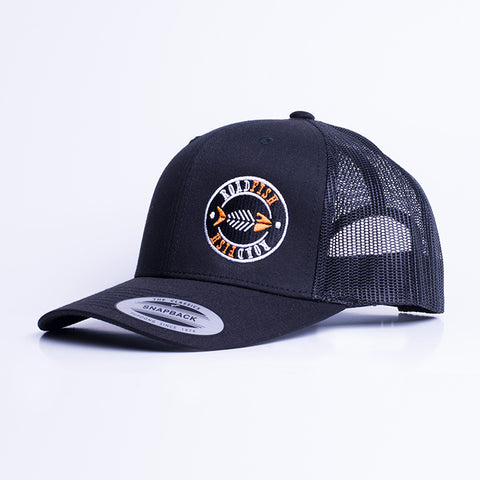 Casquette à filet Roadfish Noir/Noir, Tag orange