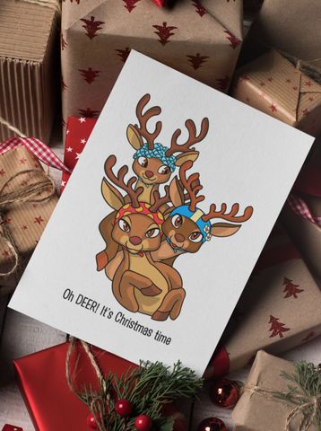 Oh Deer. It's Christmas time. Holiday Greeting Card