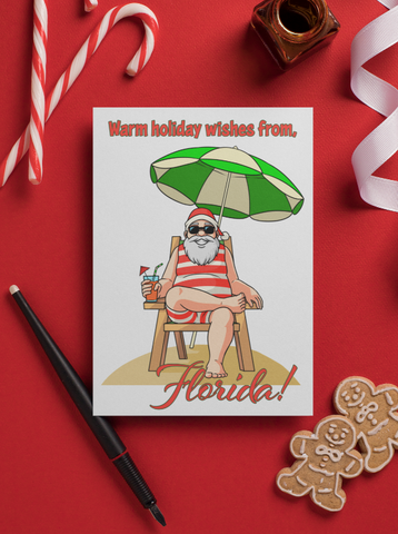 Santa at the Beach. Holiday Greeting Card