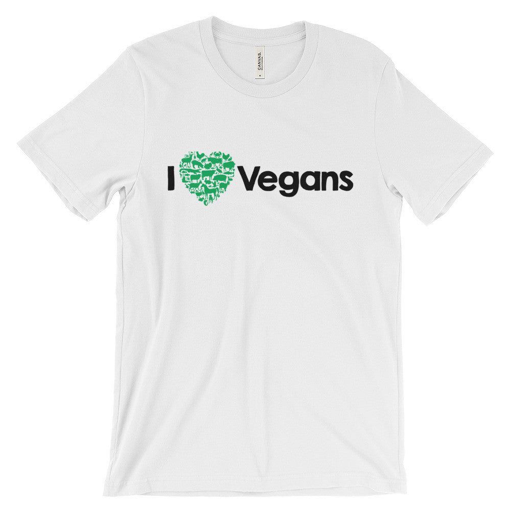 I Love Vegans - Bella + Canvas Unisex Short Sleeve Jersey T-Shirt - TriggerMouth T-Shirts and Tank Tops