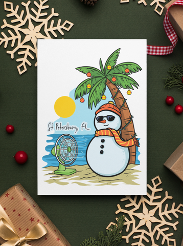 St Pete Snowman Holiday Greeting Card