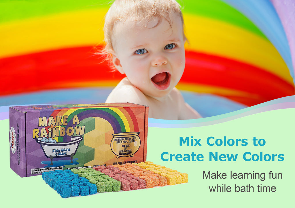 Bath Color Tablets for Kids: Mini Bath Bombs Fizz with Water Color Learning for Boys and Girls. Educational Toys for 3, 4, 5, 6 or 7 Year Old Kid. Bath Bombs Gift Set of Crayons Bath Drops for Any Age