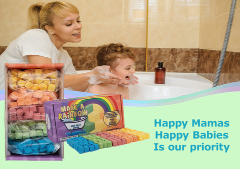 Bath Color Tablets for kids: Mini bath bombs with water color learning for boys and girls. Educational toys for your 3, 4, 5, 6, or 7 year old kid. Great Bath Bombs Gift Set for any age