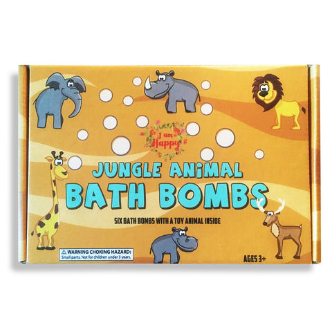 Kids Bath Bombs with Surprise Toys Inside - Safari Jungle Animals: Colored Bath Fizzies Made with Safe Ingredients for a Fun Bubble Bath Time. Great Bath Bombs for Kids with Toys Inside!