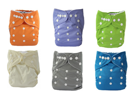 Cloth Diapers - 6 Pack (Colors include Orange, Blue, Green, Cream, Grey, and Purple)