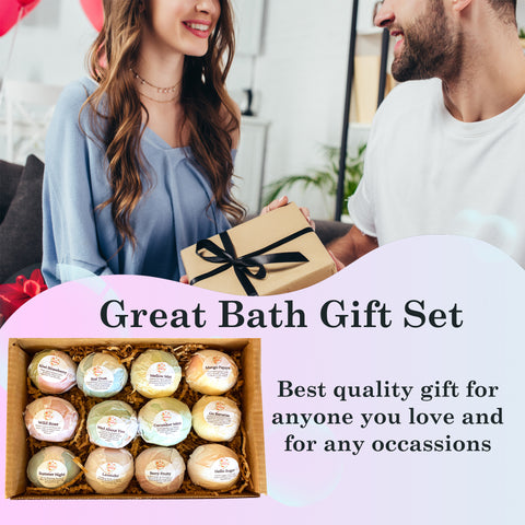 Bath Bombs for Women: 12 Pack Bath Bomb Set for Kids, Women and Men. Relaxing Handmade Bath Bombs. Awesome Birthday, Christmas Gift Ideas for Her/Him.
