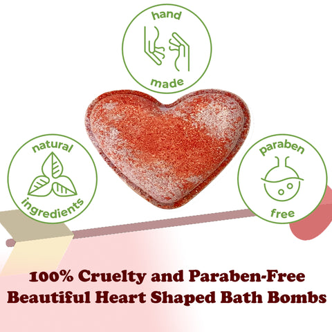 Bath Bombs Heart Shaped Gift Set - 9 Bundle of Heart Bath Bombs for Women, Men and Kids. Organic and Natural Bath Bombs. Magnificent Valentine, Birthday, Anniversary Gift for Him/Her
