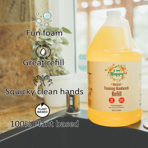 Foaming Hand Soap Refill Gallon - Bulk Liquid That Refills A Foam Hand Soap Dispenser 50 Times With Natural Ingredients To Keep Your Families' Hands Clean For Months At A Fraction Of The Price