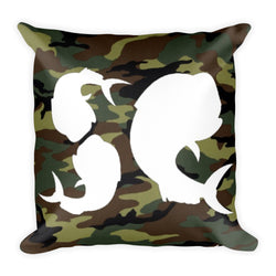 Salty Cubans Green Camo Square Pillow