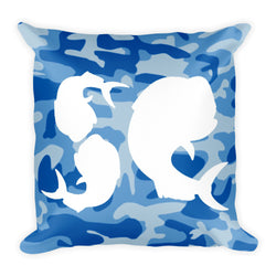 Salty Cubans Blue Camo Square Pillow