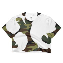 Salty Cubans Green Camo-Ladies Crop Top