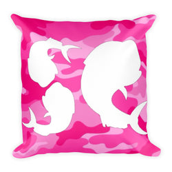 Salty Cuban-Pink Camo Square Pillow