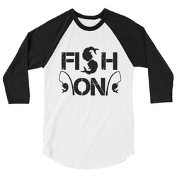 Fish on-Salty Cubans-3/4 sleeve raglan shirt