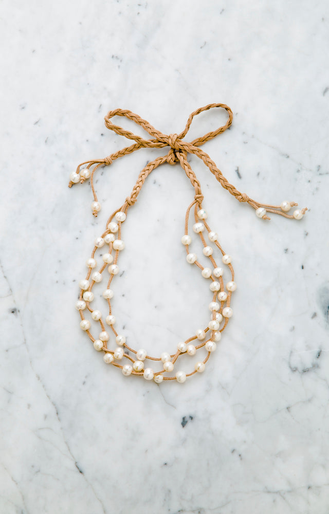 "Stephanos ""Aphrodite"" Baroque Pearl & Faux Leather Ribbon Necklace"