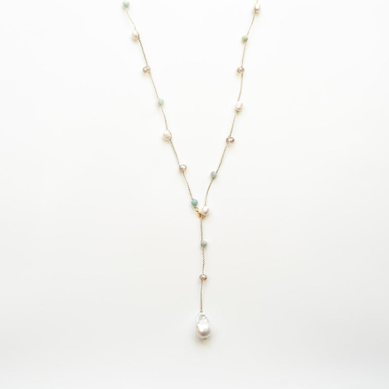 "Stephanos ""Thalassa"" baroque pearl and quartz lariat necklace"