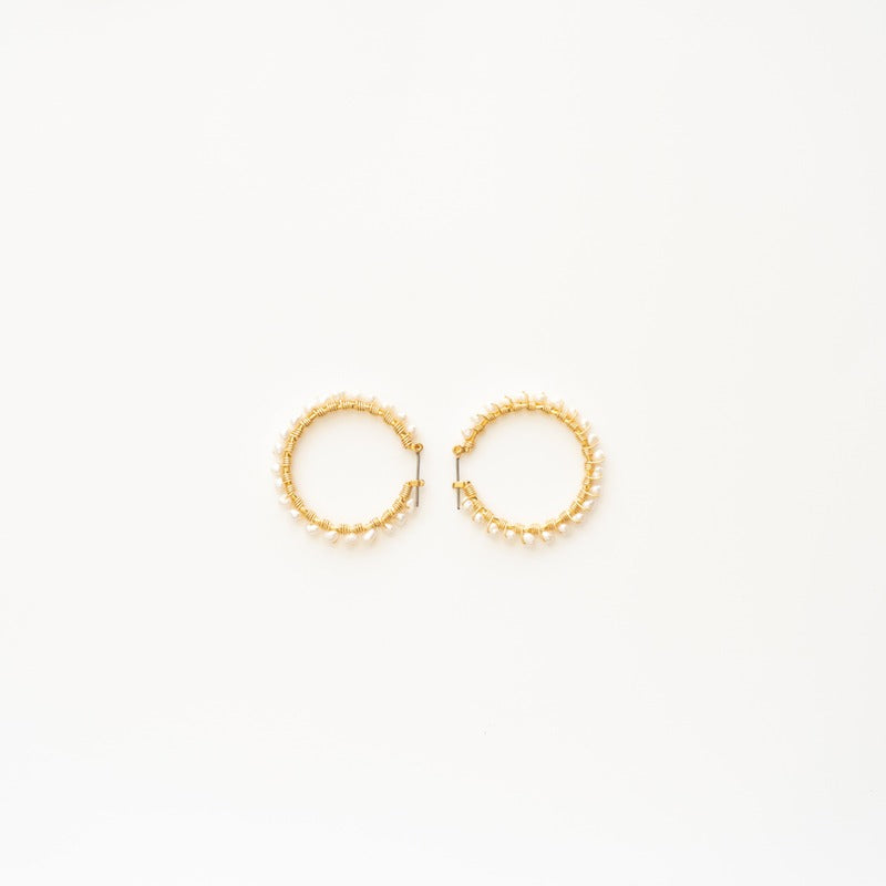 "Stephanos ""Ersa"" Baby pearl Hoop Earrings"
