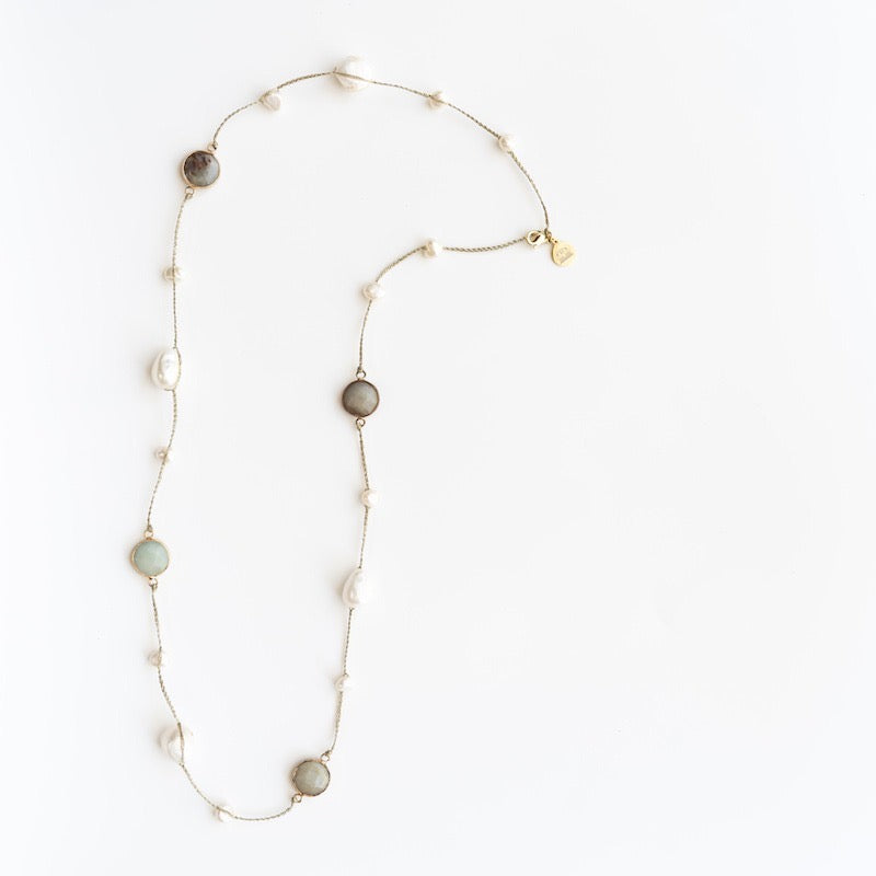 "Stephanos ""Cybele"" Natural Stone and Pearl Semi-long Necklace"