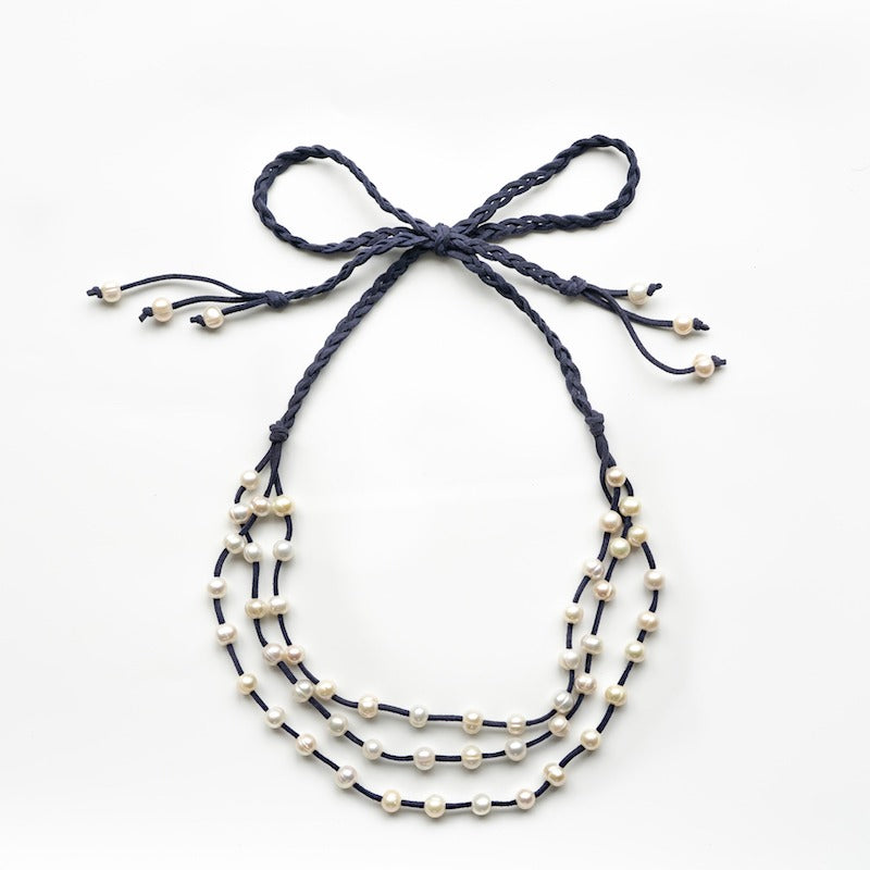 Stephanos Baroque Pearl & Faux Leather Ribbon Necklace