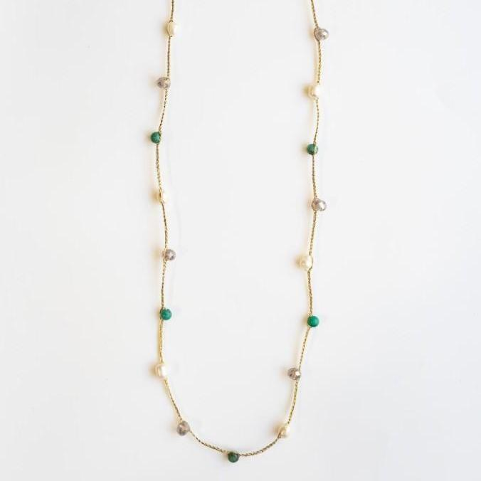 """Thaleia"" Semi-precious Stone and Pearl Cord Necklace"