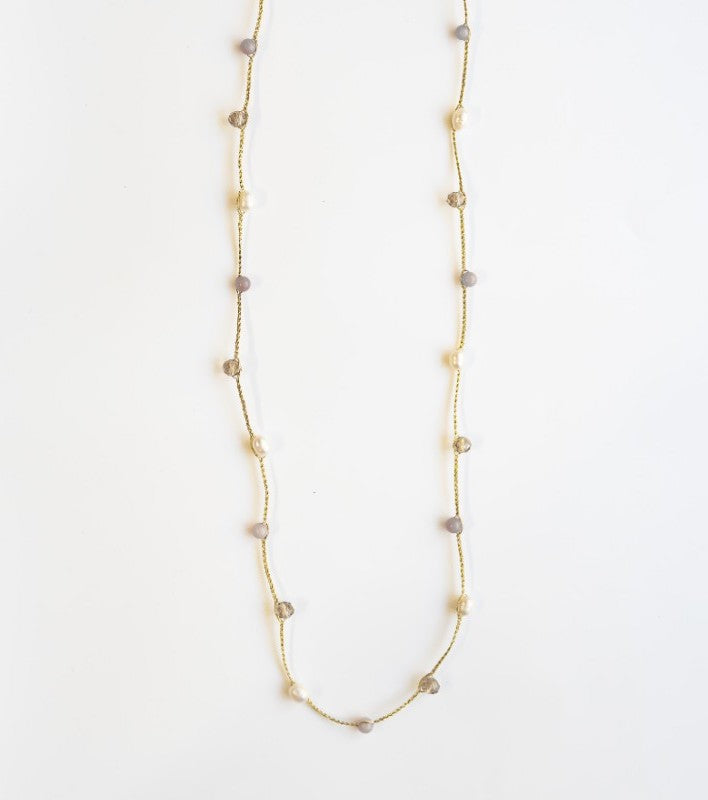 "Stephanos ""Thaleia"" Semi-precious Stone and Pearl Cord Necklace"