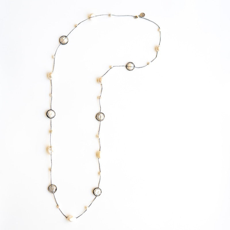 """Calliope"" Coin Pearl/Turquoise Long necklace"