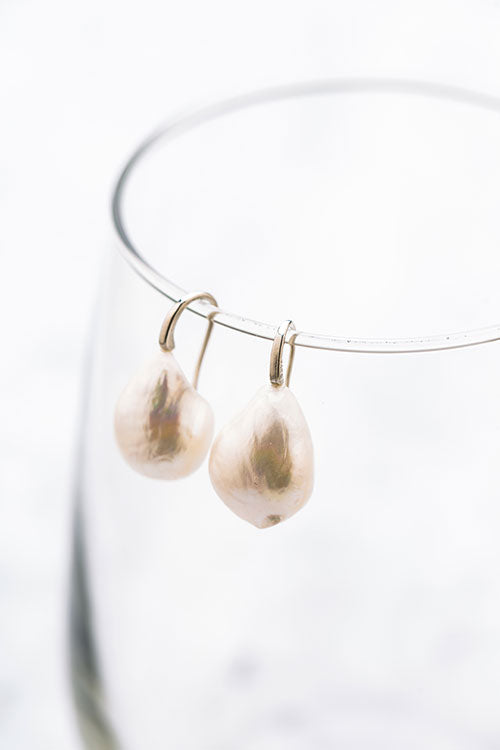 Stephanos teardrop baroque pearl earrings