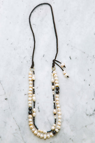 Chic Baroque Pearl Double Strand Semi Long Necklace