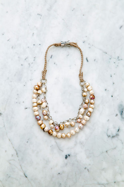 Sassy Baroque Pearl Triple Strand Short Necklace