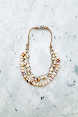 """Bia"" Baroque Pearl Triple Strand Short Necklace"