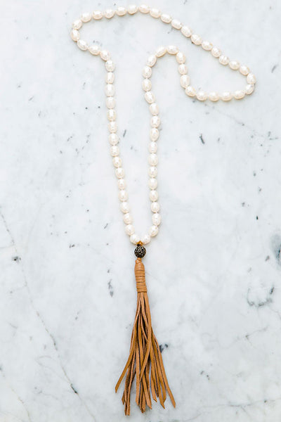 Stylish Baroque Pearl Leather Tassel Necklace
