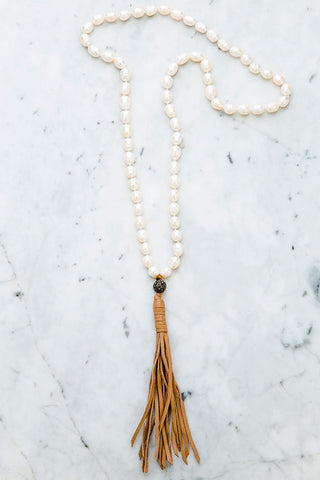Stephanos Baroque Pearl Leather Tassel Necklace