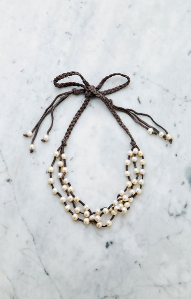 Triple Strands Pearl & Leather Ribbon Necklace