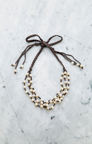 Pearl & Leather Ribbon Necklac