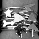 Sterling Silver Stacking Ring with Lightning Bolt