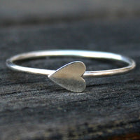 Sterling Silver Stacking Ring with Sideways Heart