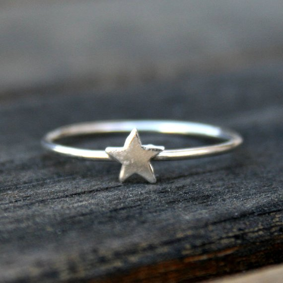 Sterling Silver Stacking Ring with Star