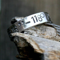 Latitude and Longitude Ring - Personalized Sterling Silver Band - Custom Coordinates GPS
