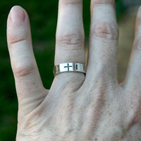 Personalized Sterling Silver Ring - Rosary Cross Hail Mary Band