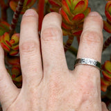 Sterling Silver Ring - Simple 5mm Hammered and Antiqued Band