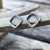 Sterling Silver Post Earrings - Hammered Square Studs