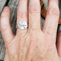 Sterling Silver Girl in the Moon Statement Ring