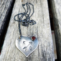 Cupid Heart Initial Necklace - Heart Initial Pendant - Custom Arrow Pendant - Stone Pendant