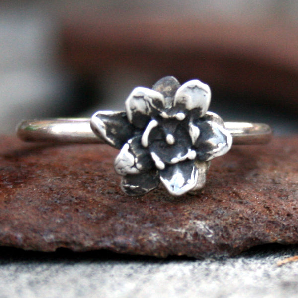 Sterling Silver Blooming Flower Stackable Ring