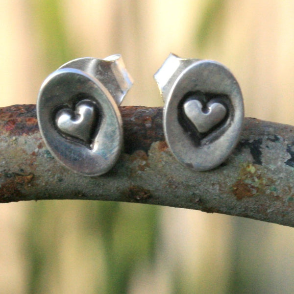 Sterling Silver Oval Post Earrings - Valentine Sweet Hearts