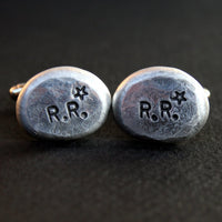 Custom Cufflinks - Personalized Cufflinks - Initials and Stars