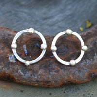 Sterling Silver Post Earrings - Rustic Hoops with Balls