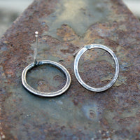 Sterling Silver Post Earrings - Rustic Oxidized Hoops